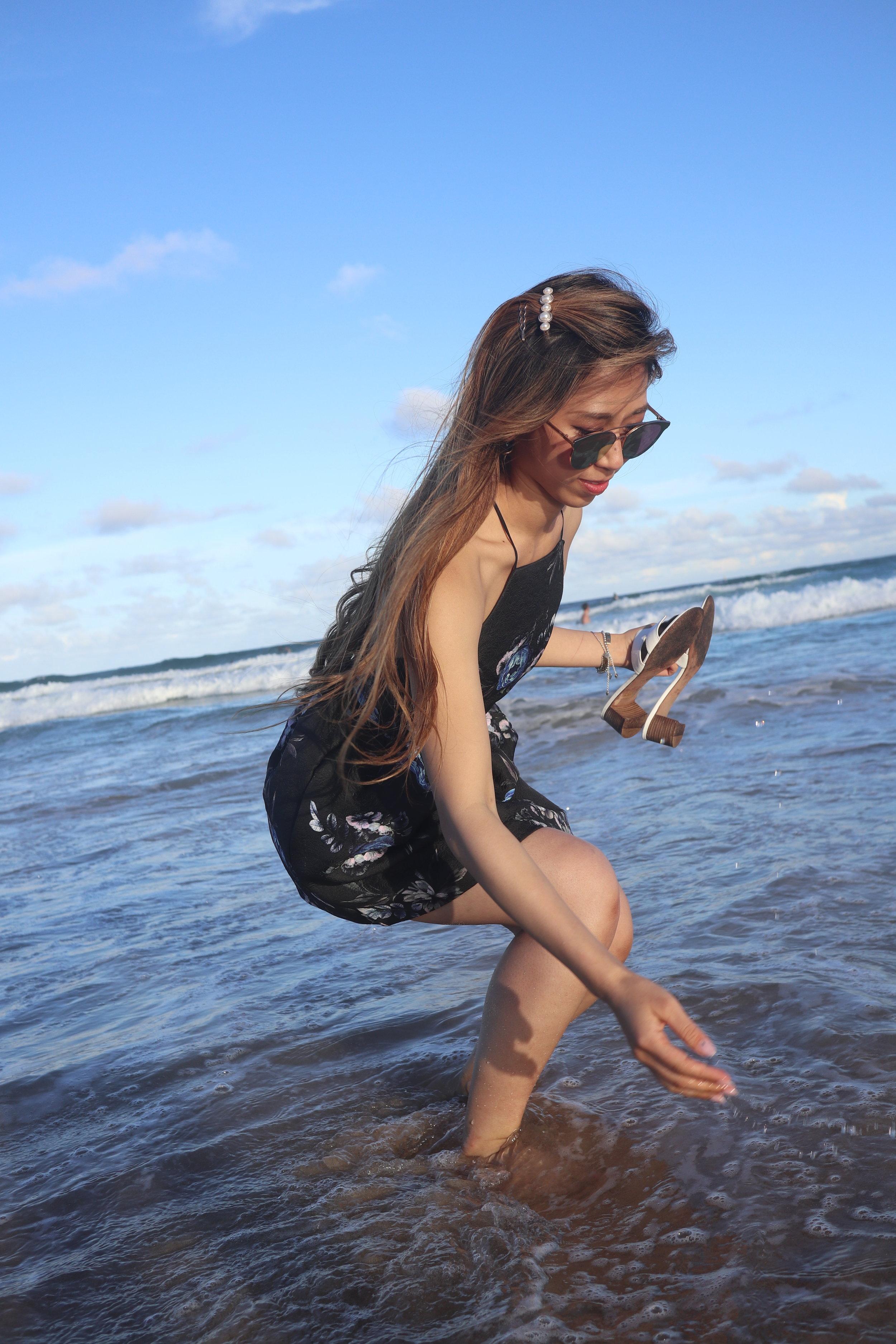 - Dress: Topshop floral dressShoes: Hermes Oasis sandalsBag: Loewe basket small bag