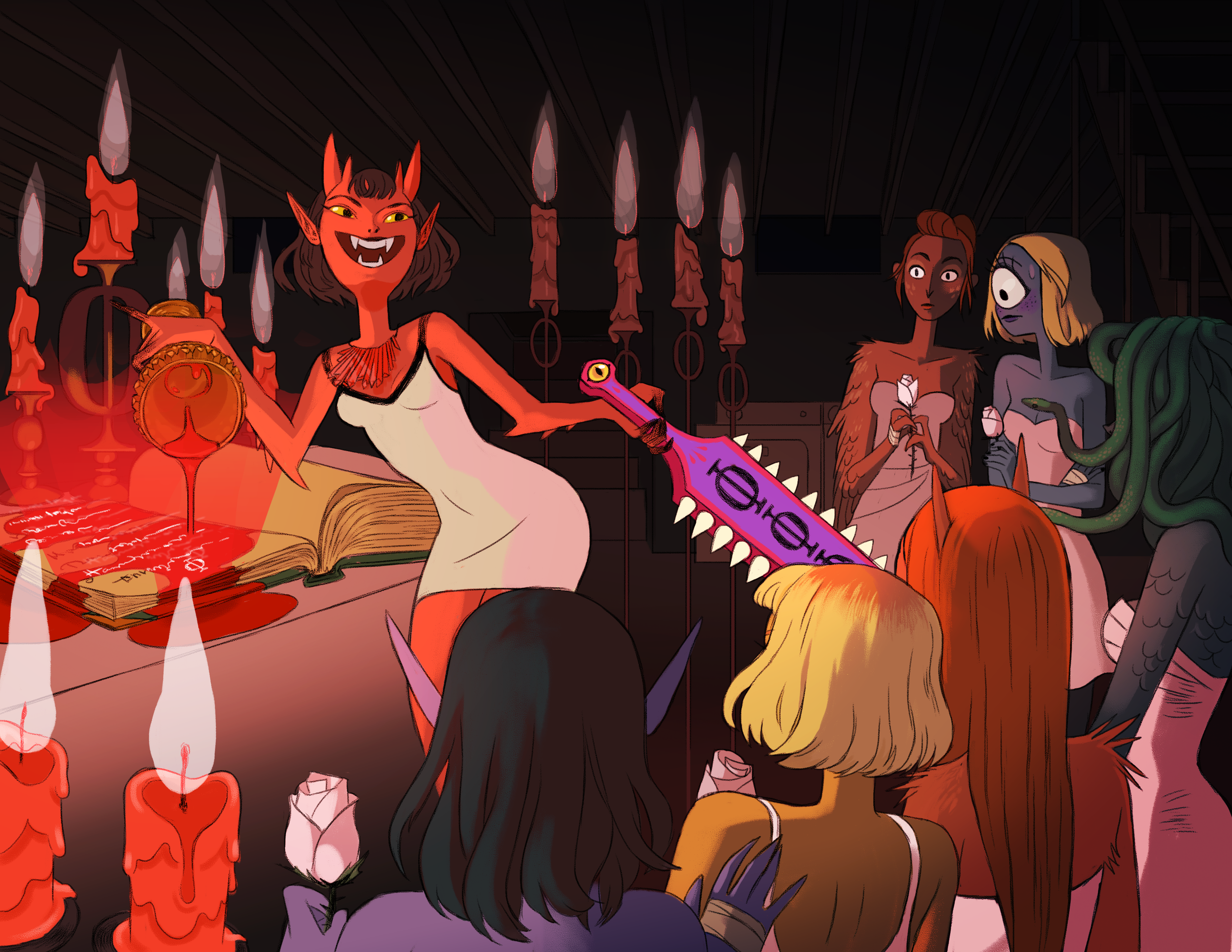 Tri Phi   is a collection of narrative illustrations chronicling the events of the chapter house of Phi Phi Phi, a sorority for collegiate monster girls, occurring in a single moment on a Friday night.
