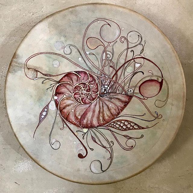 Nautilus Frame Drum by commission with layout and progress pics. #drawingondrums #drumart #framedrum #artisandrums  #drawinginwardarts #jazzdakini #nautilus #nautilusart #bythesea