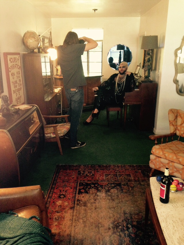 Bebe Deluxe poses at their piano | behind the scenes photo by Ari Laren