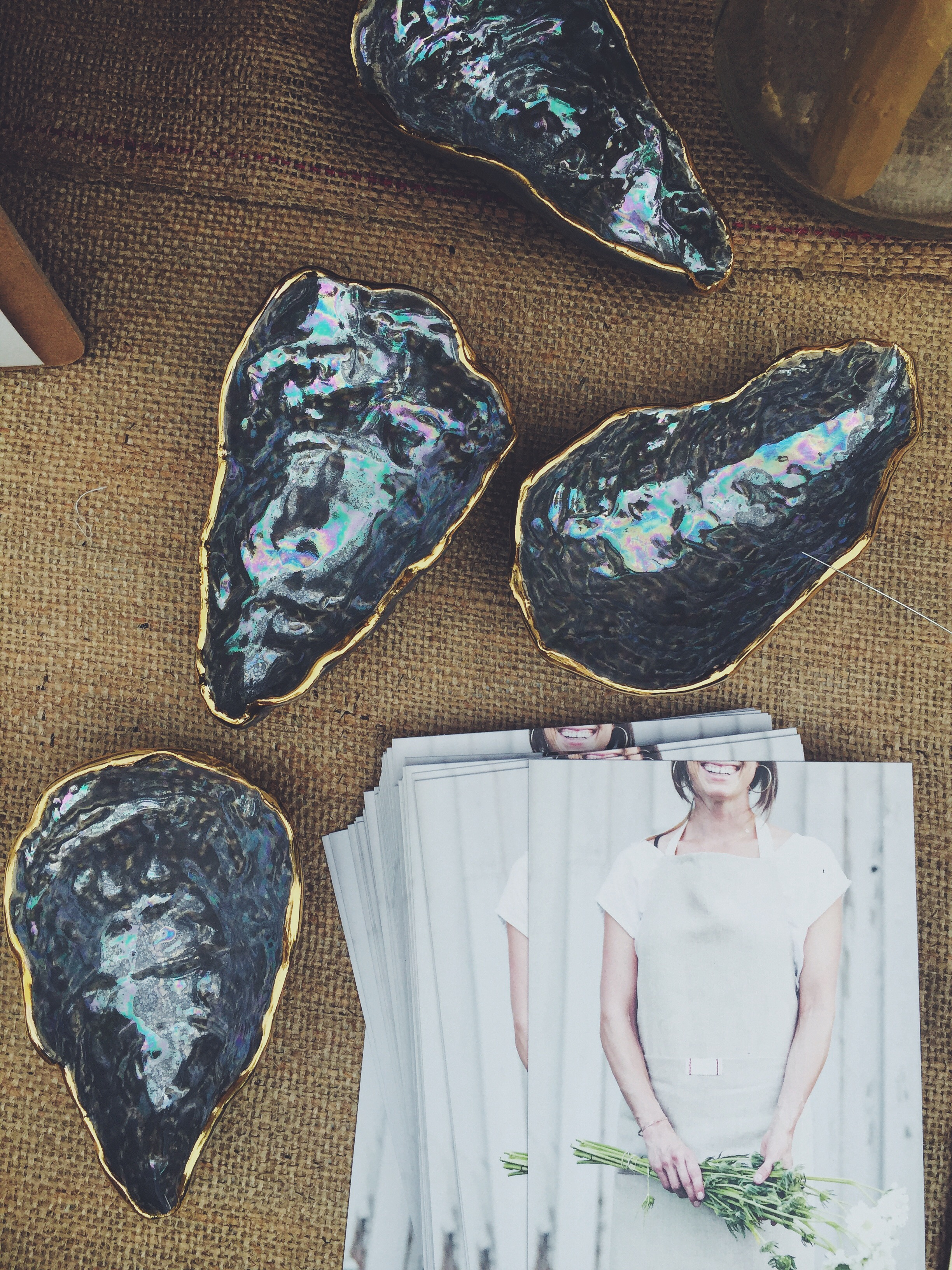 Heirloomed Collection,Oyster Shell Jewelry Dishes in Grey