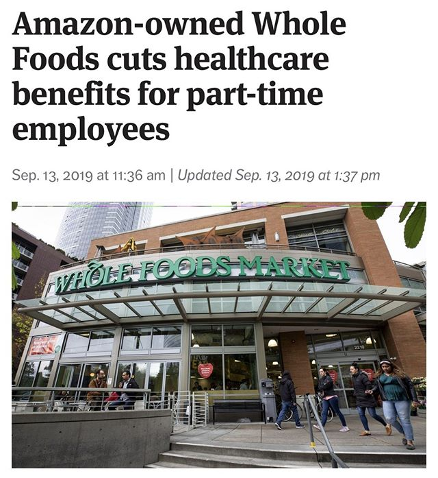 Amazon is cutting healthcare benefits for employees who are working less than 30 hours a week, beginning next year. A Whole Foods representative says that 2% of their workforce is affected, or around 1900 employees. They also say that they're trying to move employees in to jobs that will qualify them for benefits.⠀ ⠀ Yeah, okay. We've all seen companies make business decisions like this. But here's the question: how much profit is enough? ⠀ ⠀ #hruprise⠀ ⠀ Link in bio: Story from @seattletimes