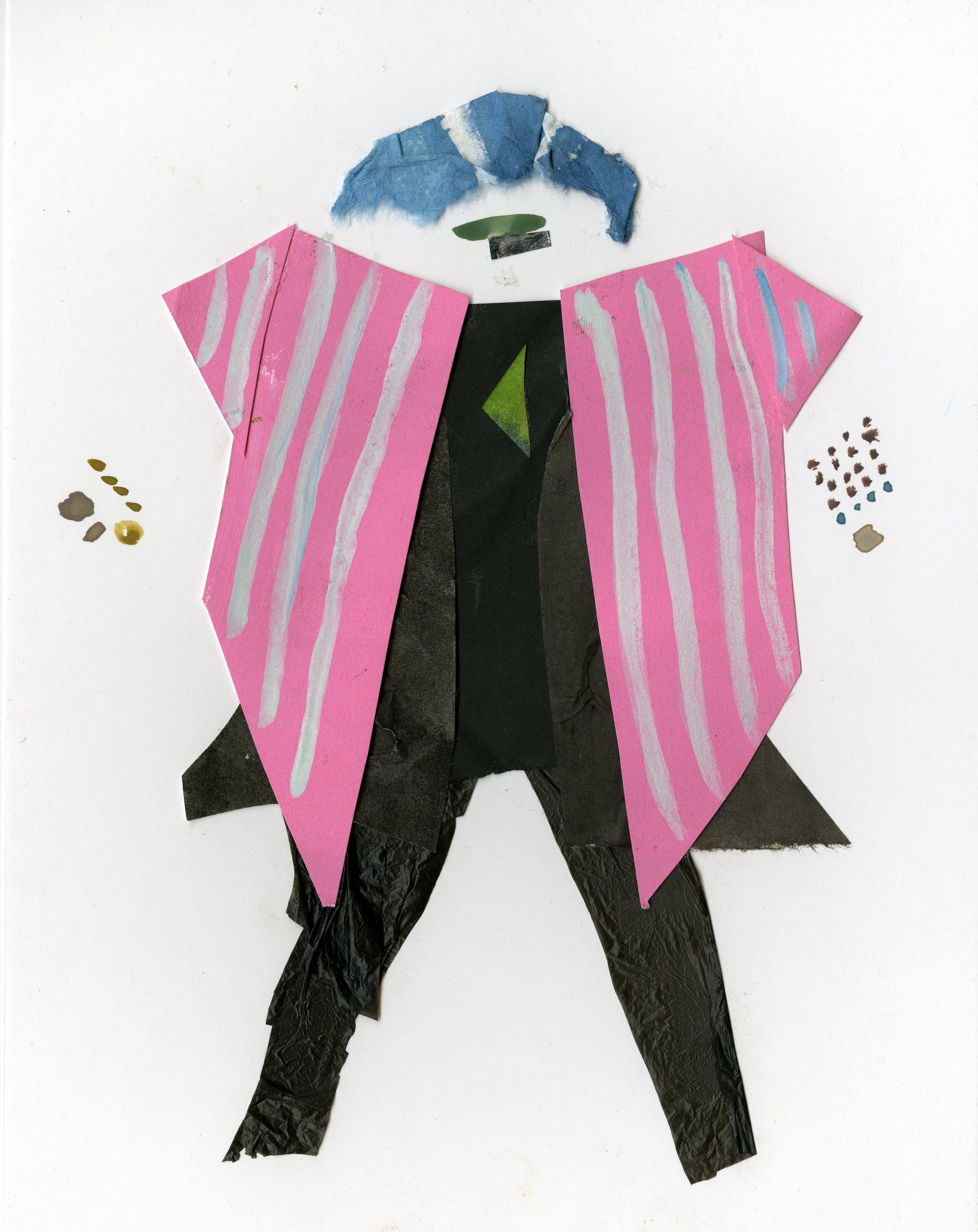 80's Fashionista Grandma   Gouache and Collage  2016