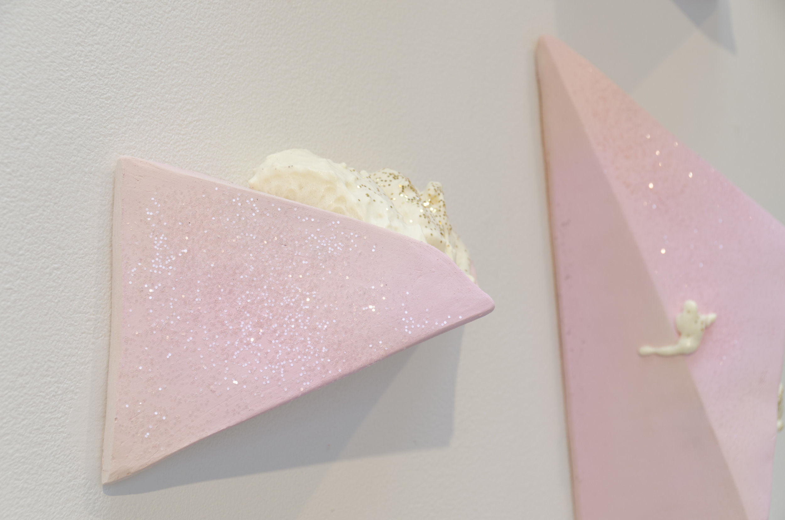 Top or Bottom  (Detail)  Ceramic, foam, glitter, spray paint, and cardboard  2017  Collaborative work with Annastasia Calvert at the exhibitions  Boys Will Be Boys  and  Altered Landscapes