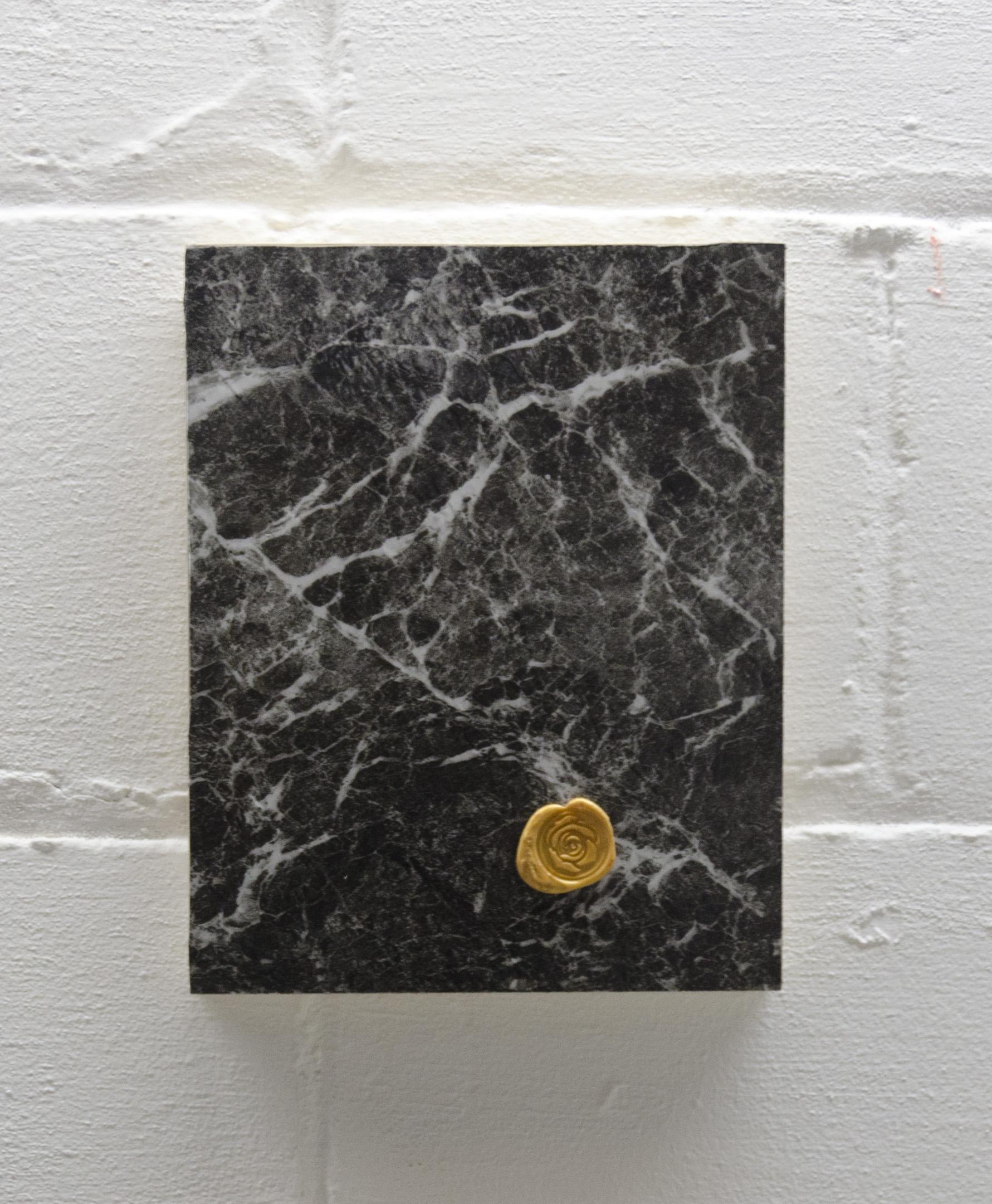 Remnant   2017  Wax on linoleum on wood panel