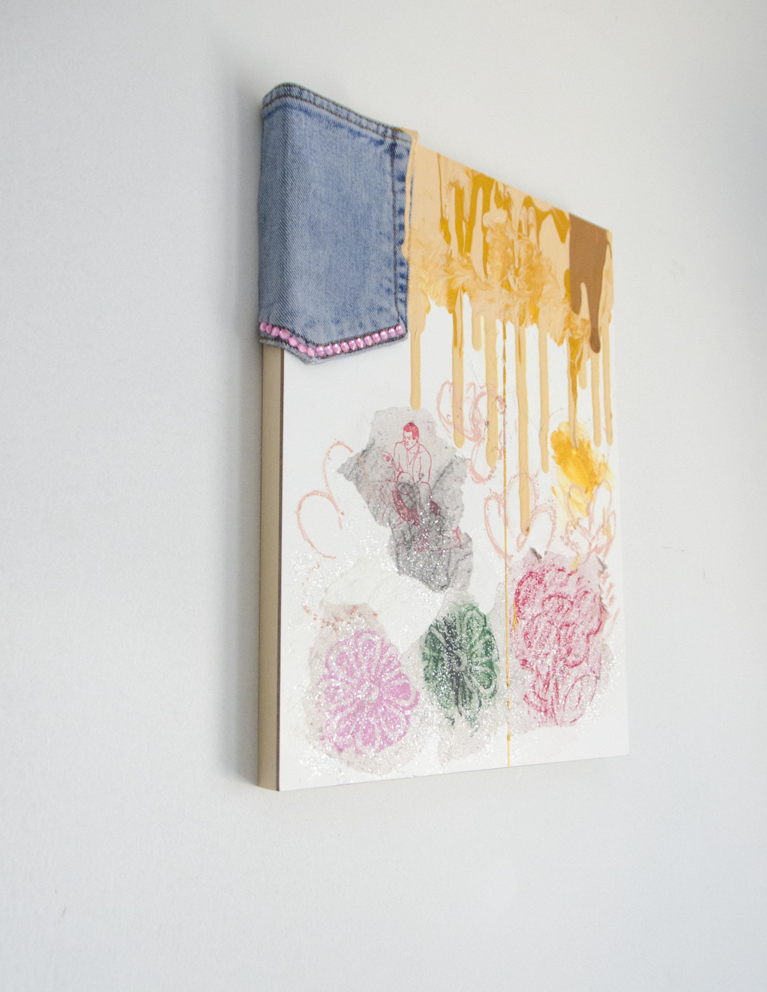 We Three Kings( Well, seeking our third)  (Detail)  2018  Acrylic, ink, pastel, denim, rhinestones, and glitter, on panel