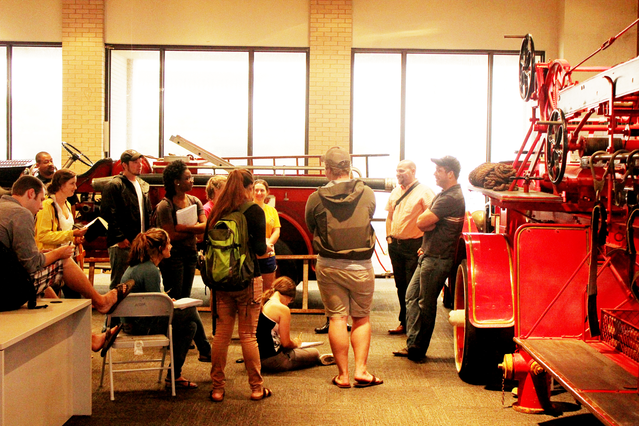 LSU Architecture students interviewing Fire Dept. administrators and measuring museum artifacts