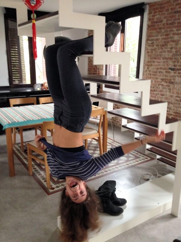 Me being a monkey, excited for the house I had for 3 whole months.