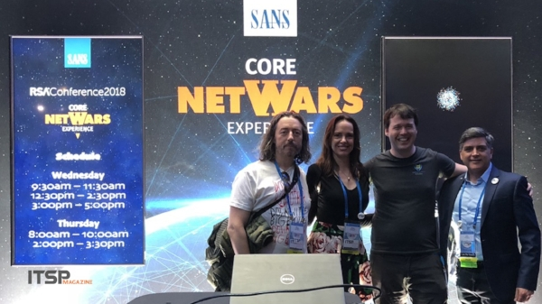 SANS NetWars   :  (Left to Right) Marco Ciappelli, Selena Templeton, Jeff McJunkin from SANS Institute, and Sean Martin. ( Not pictured: Ed Skoudis from SANS Institute )