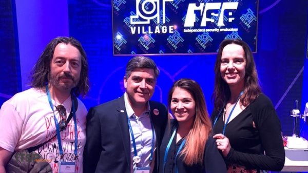IoT Village   :  (Left to Right) Marco Ciappelli, Sean Martin, Lisa Green from Independent Security Evaluators, and Selena Templeton. ( Not pictured: Ted Harrington from Independent Security Evaluators )