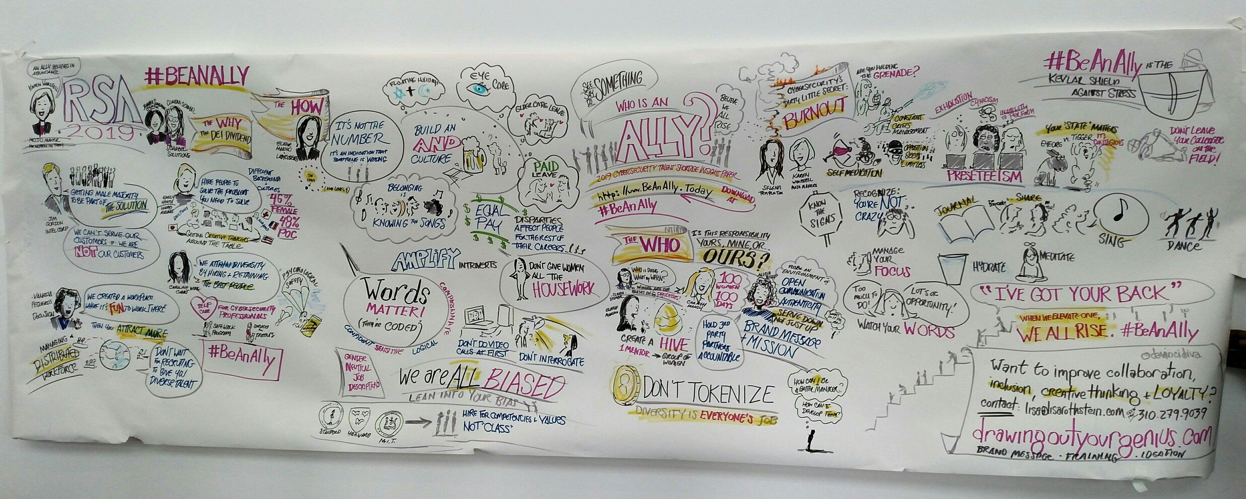Lisa Rothstein captures the Solving Our Cybersecurity Talent Shortage seminar in ink.