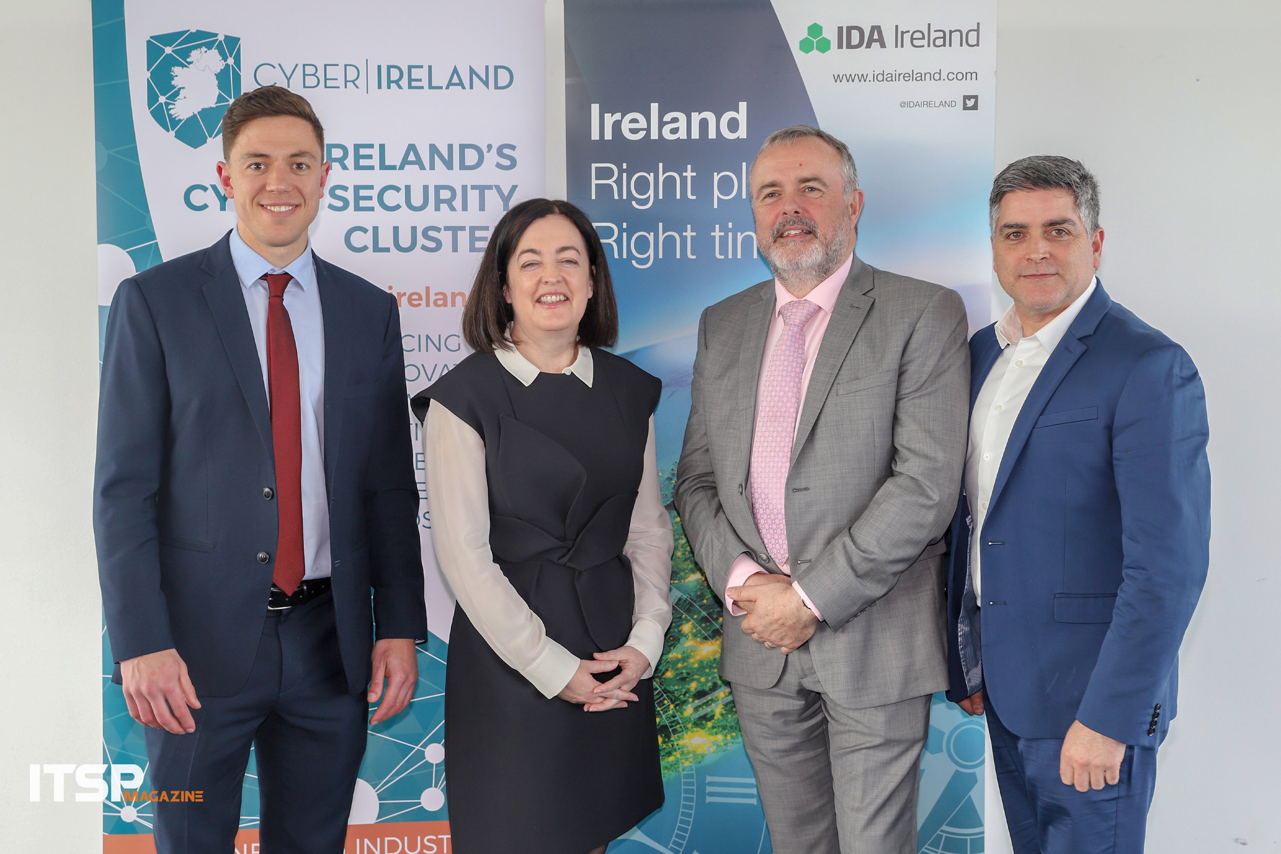 (L-R) Dr. Eoin Byrne, Cyber Ireland's cluster manager | Jacky Fox, Cyber & IT Forensic Lead at Deloitte | Pat Larkin, CEO at Ward Solutions | Sean Martin, Editor-in-Chief at ITSPmagazine
