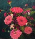 Zinnias   30 x 30  Oil on board