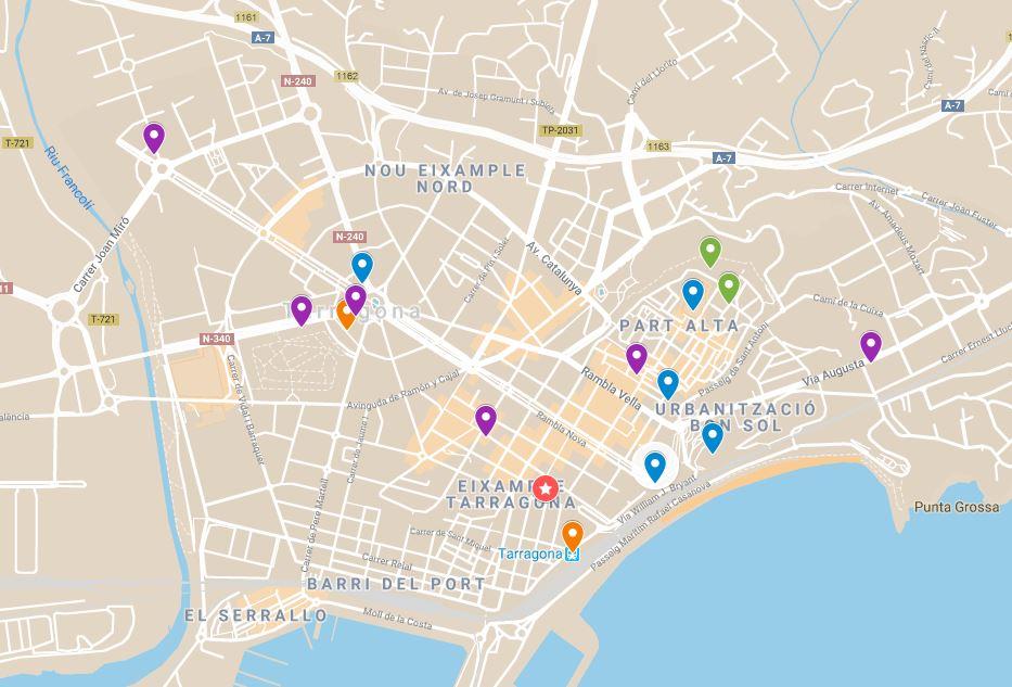 Google maps de las XII Jornadas - Sitúa rápidamente los puntos clave de estas Jornadas. En violeta, la ubicación de los hoteles. En encarnado, Palacio de Congresos.