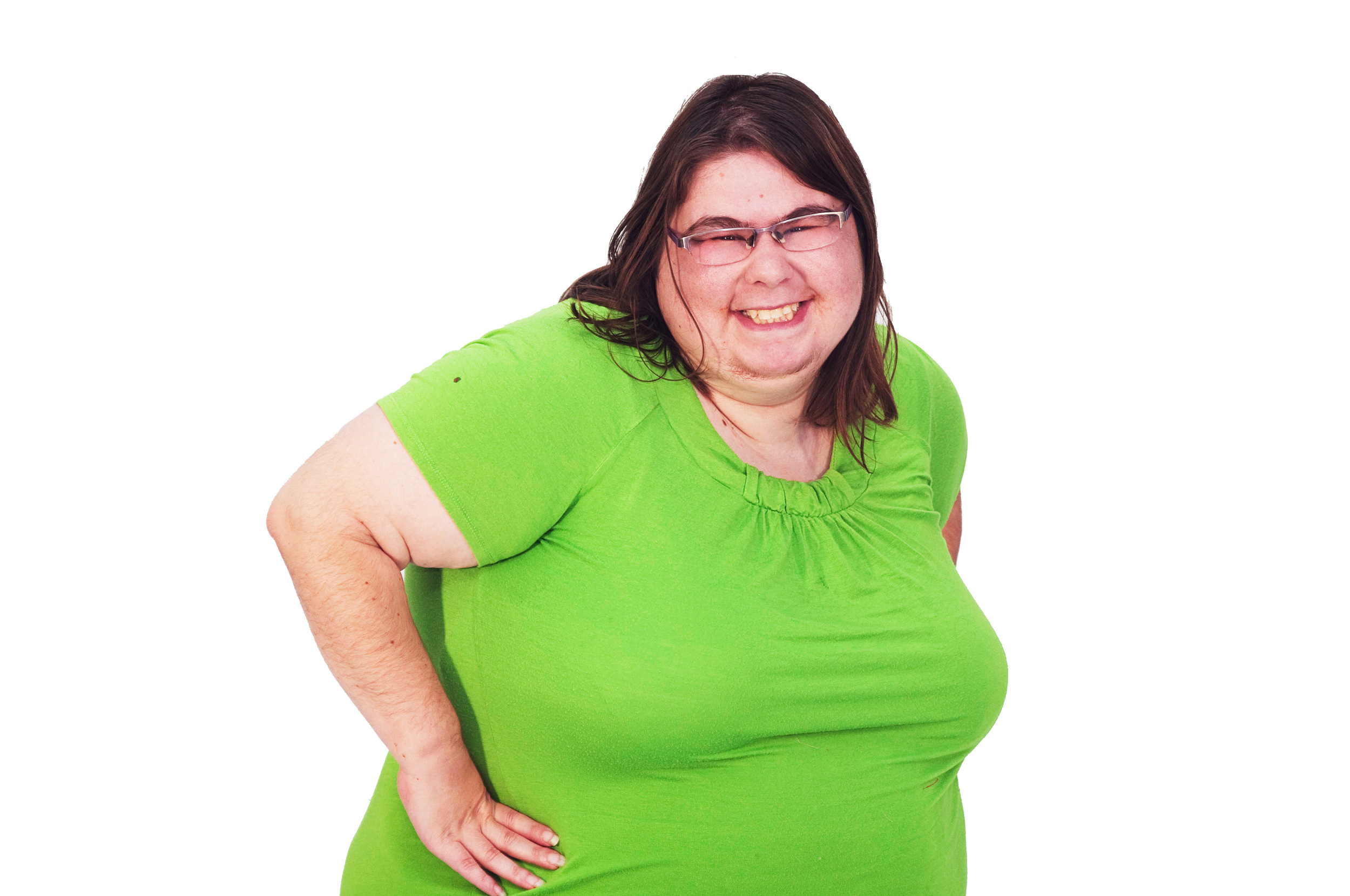 Smiling woman in green shirt