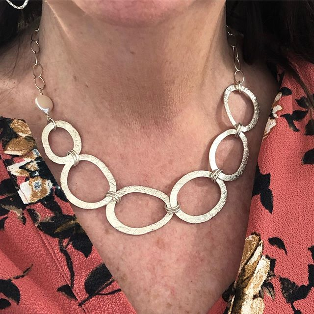#Oneofakind 😃. I call it the Pepple Beach Necklace. Each pepple with a coral texture,  shaped one by one... reversible with healing leaves texture on the back. DM me, if you are i retested! 😍. . . . .  #amlingdesigns #amling #amlingjewelry #goodvibes #goodvibesonly #oceaninspiration #ocean #oceanlove #santacruz #santacruzlife #madeincalifornia #madewithlove #beach #beachtherapy #beachart #handcrafted #oneofakind #love #waterlover #meaningfulgifts #handmadegifts #corporategifts #pebblebeach #pebbles #recycledsilver #handmade #instajewelry