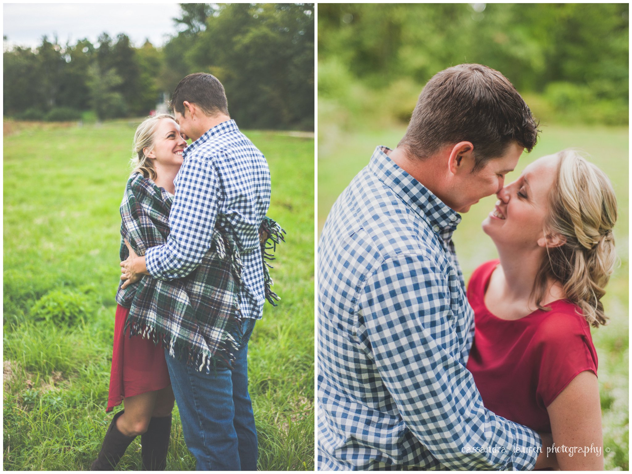 lovely plaid in field fall engagement pictures