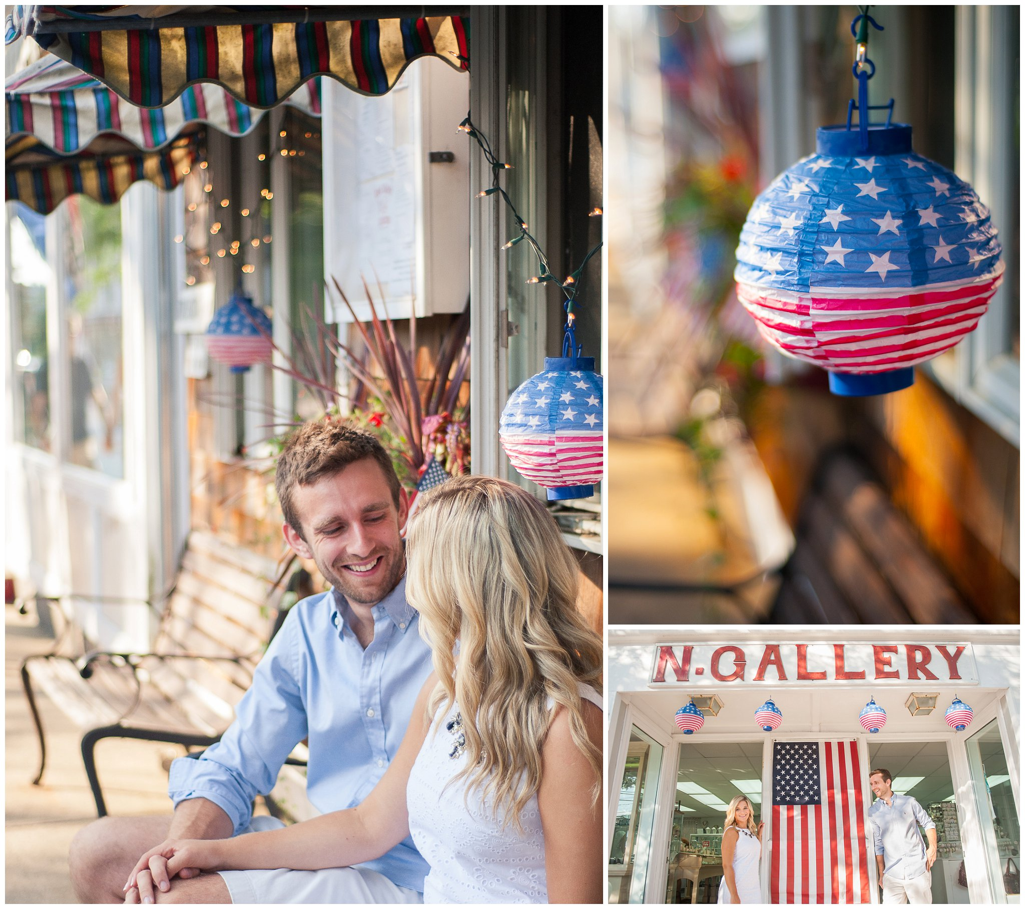 Downtown Rockport MA nautical patriotic engagement session photographer