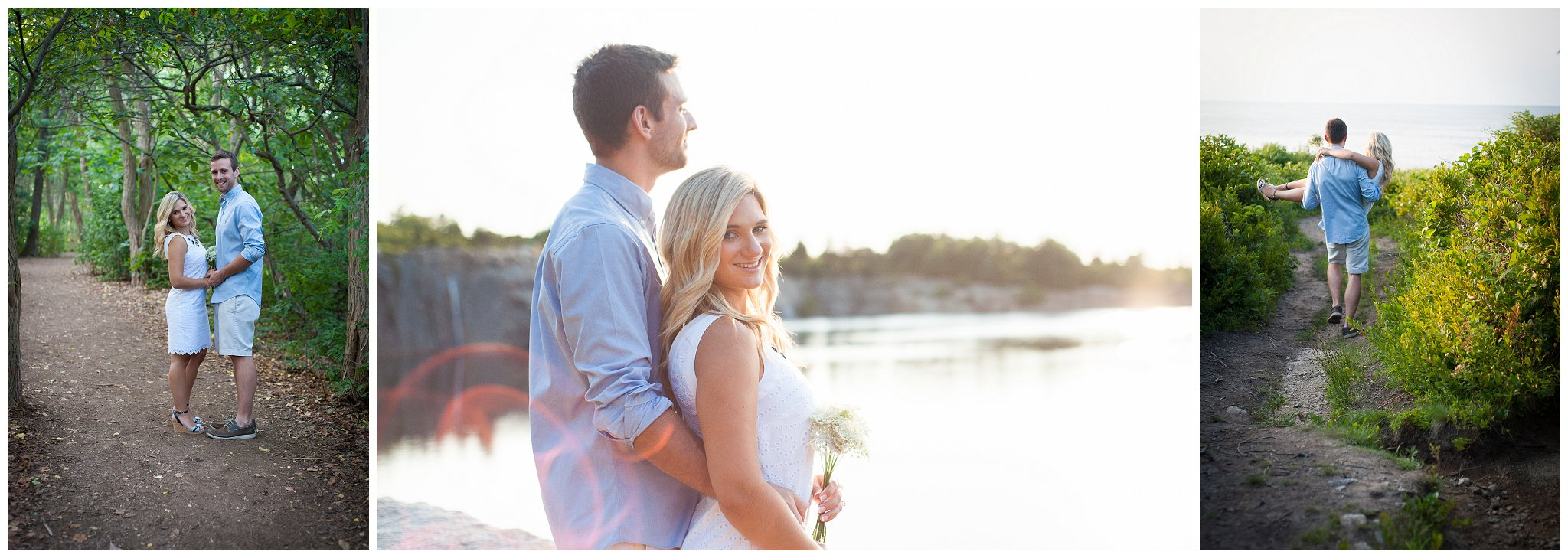 Halibut Point Rockport MA engagement session photographer sunset dreamy
