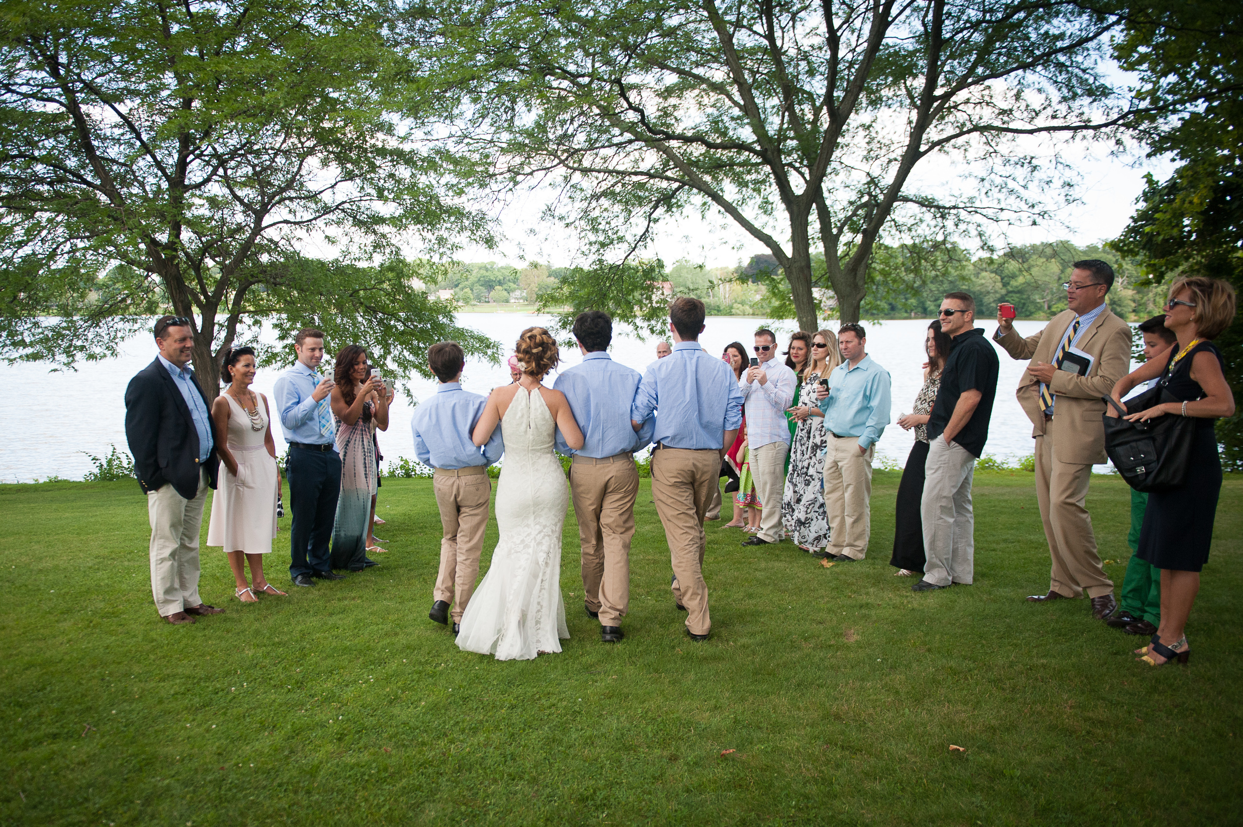 Bride escorted by three sons small park wedding Wakefield MA photographer