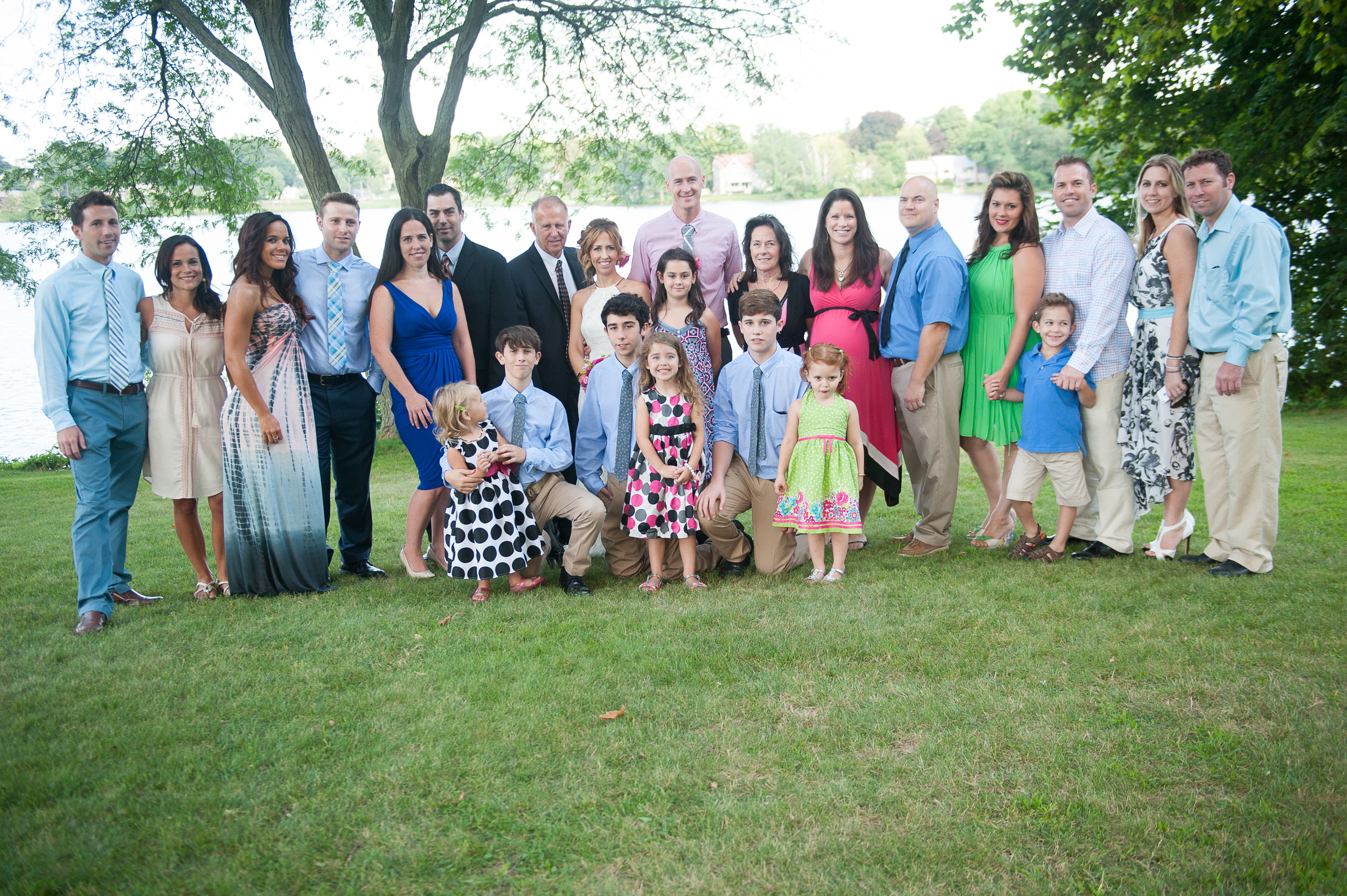 Large family picture at Park Wedding Ceremony Northshore MA photographer