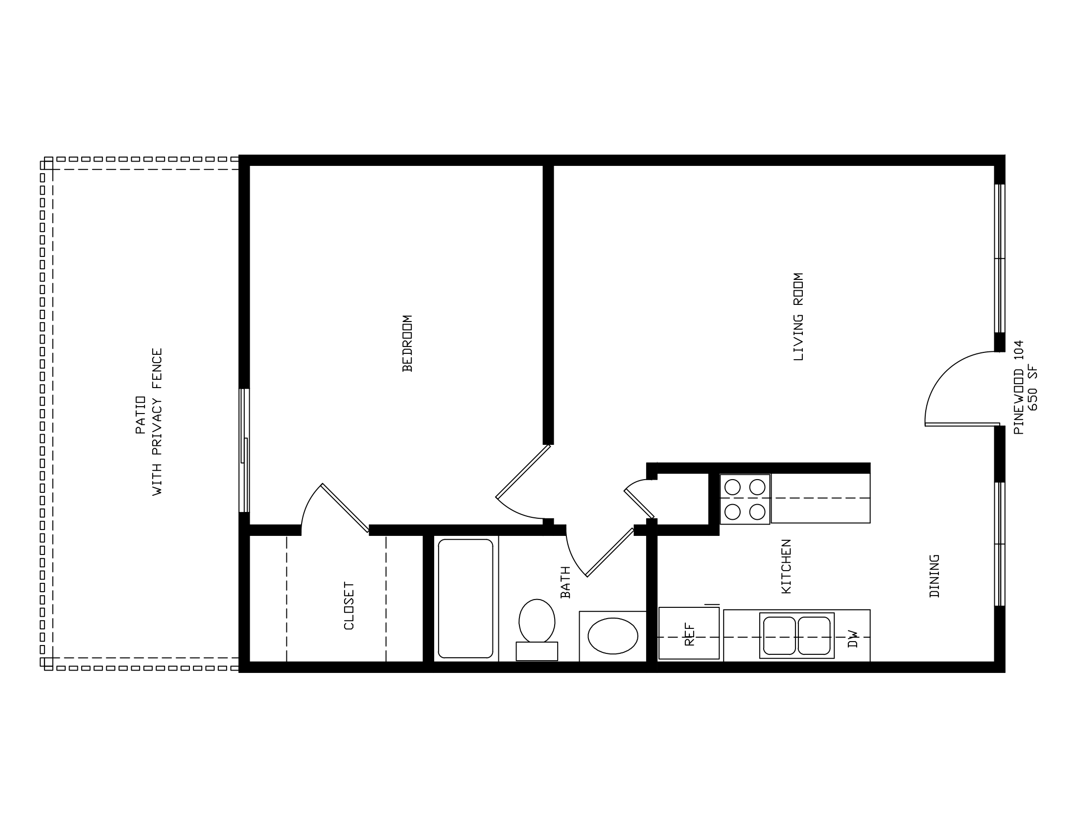 Pinewood Apartments in Tulsa - 650 SQ FT One Bedroom