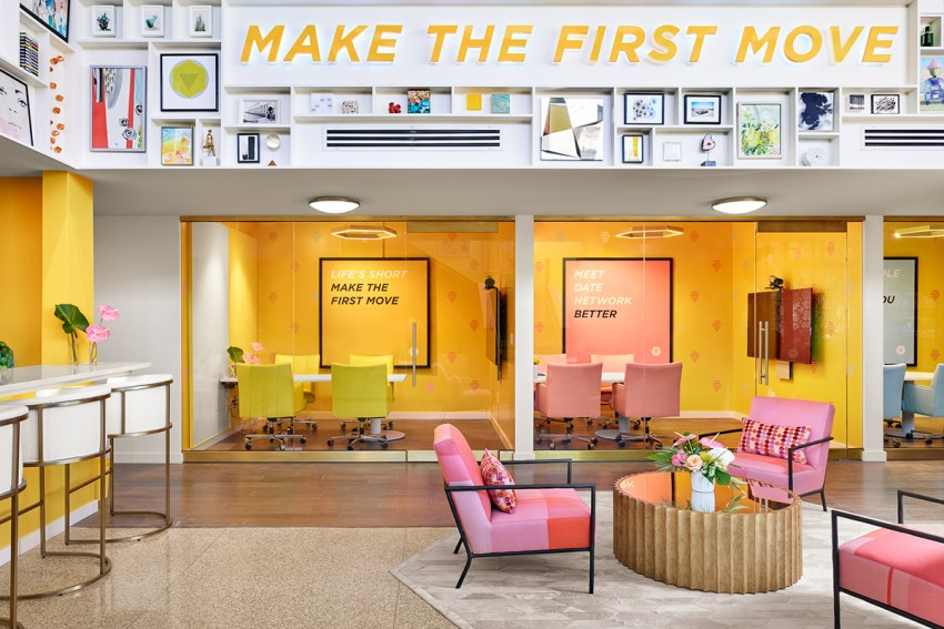 commercial project: the root cellar designs' team custom created several patterns for flagship tech company Bumble's Austin, Texas office-- featured in  Architectural Digest mag,  interior design by  JEI designs  through Ken Kehoe Showroom