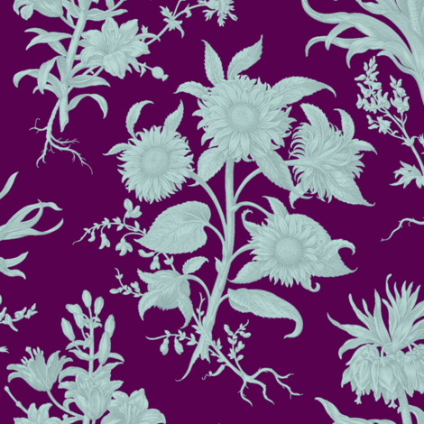 sunflower toile, amethyst tiffany