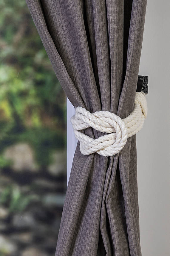 Cotton Rope Double Square Knot Nautical Curtain Tie-Backs