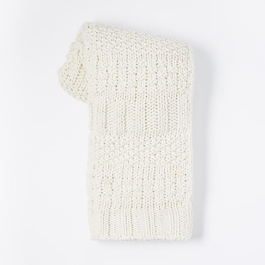 Solid Mixed Knit Throw