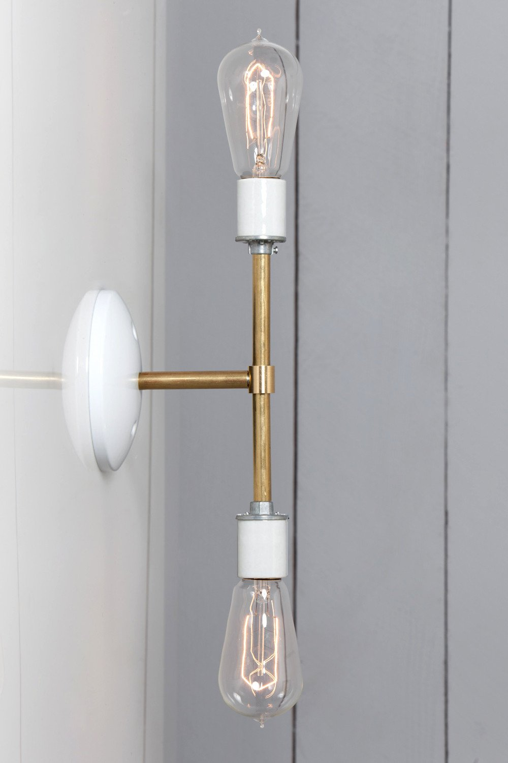 BRASS WALL LIGHT - DOUBLE BARE BULB LAMP