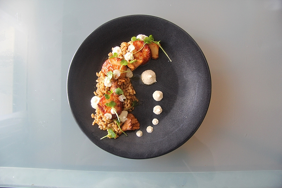Sweet onion & brown butter farro risotto. Pan seared scallop. Chanterelle mushroom. Walnut & nutmeg parsnip purée.