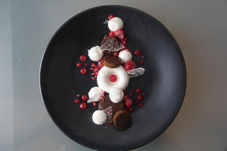 Almond Mousse. Molasses ginger cake. Raspberry segments. Raspberry fluid jell. Crystal Tuiles.