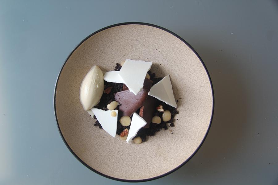 Chocolate cookie crumble. Chocolate foam. Brown butter, bourbon ice cream. Caramel fluid gel.