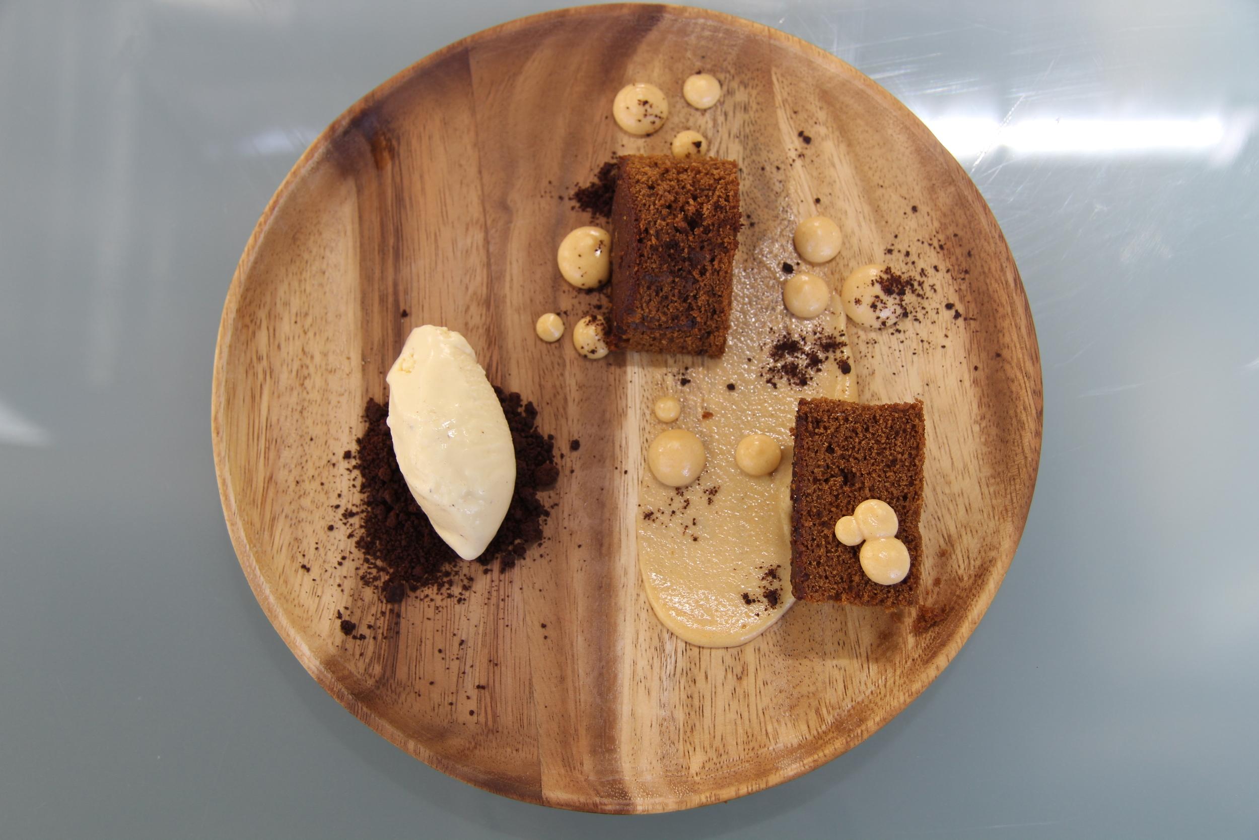Gingerbread cake. Sweet Potato Custard. Chocolate Crumble. Nutmeg Ice Cream.