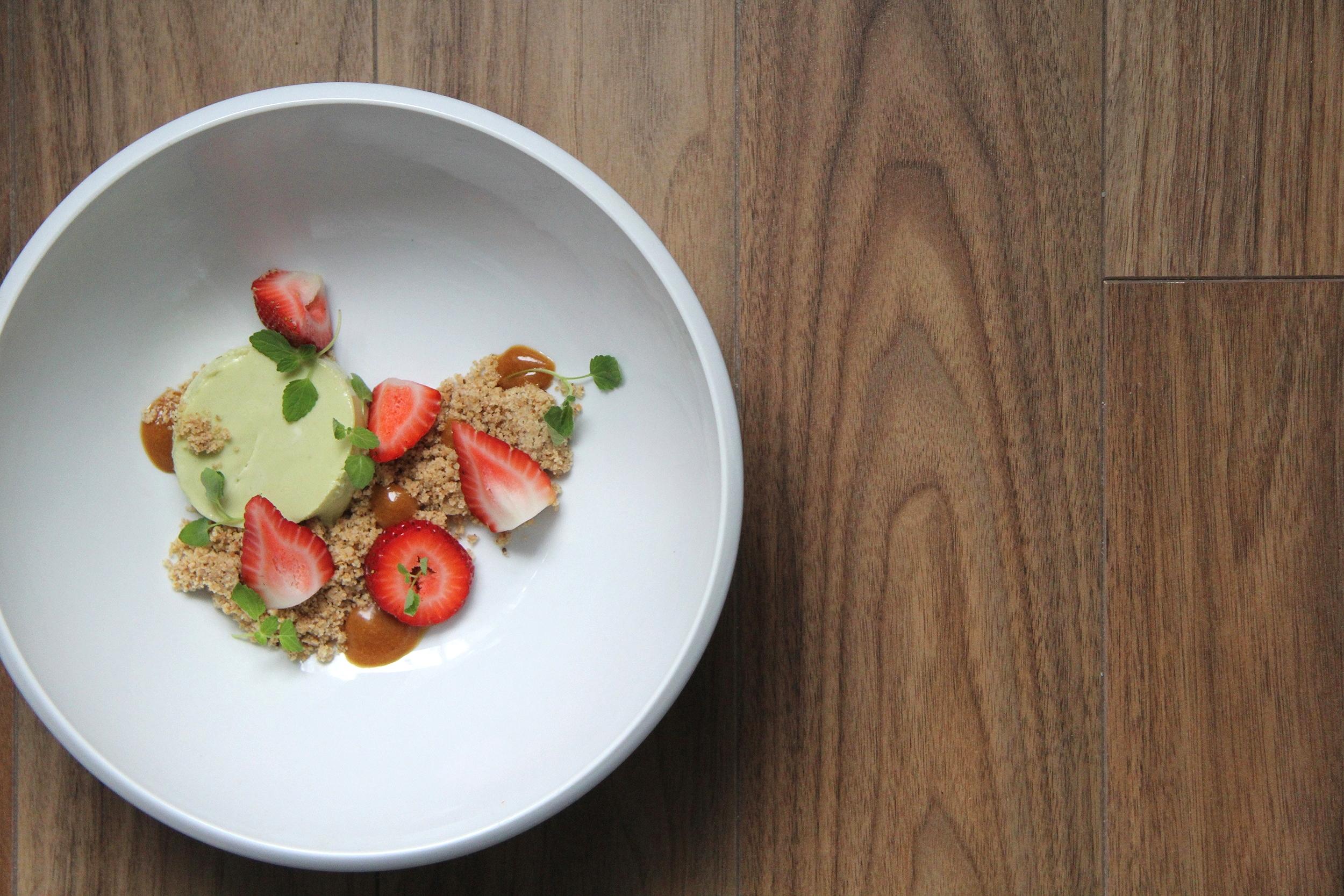 Matcha cheesecake. Hazelnut crumb. Fresh strawberry. Caramel-yuzu.