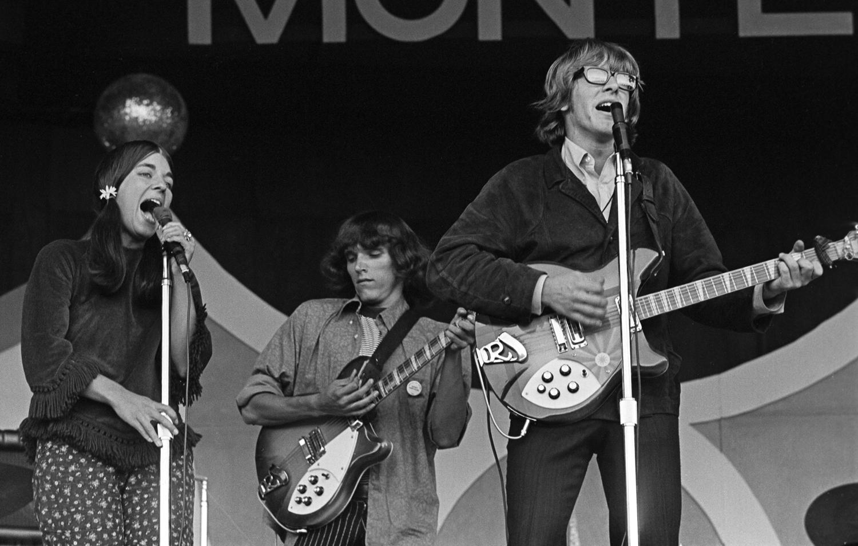 Signe Anderson (left), Jorma Kaukonen (center) and Paul Kantner (right) at the Monterey Jazz Festival, 1966