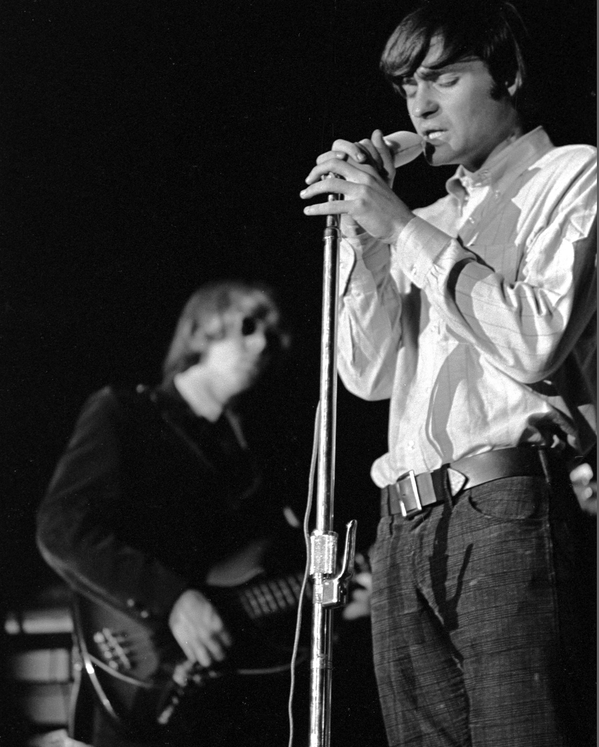 Marty Balin (right) and Jack Casady on bass (left) at Stanford University, 1966