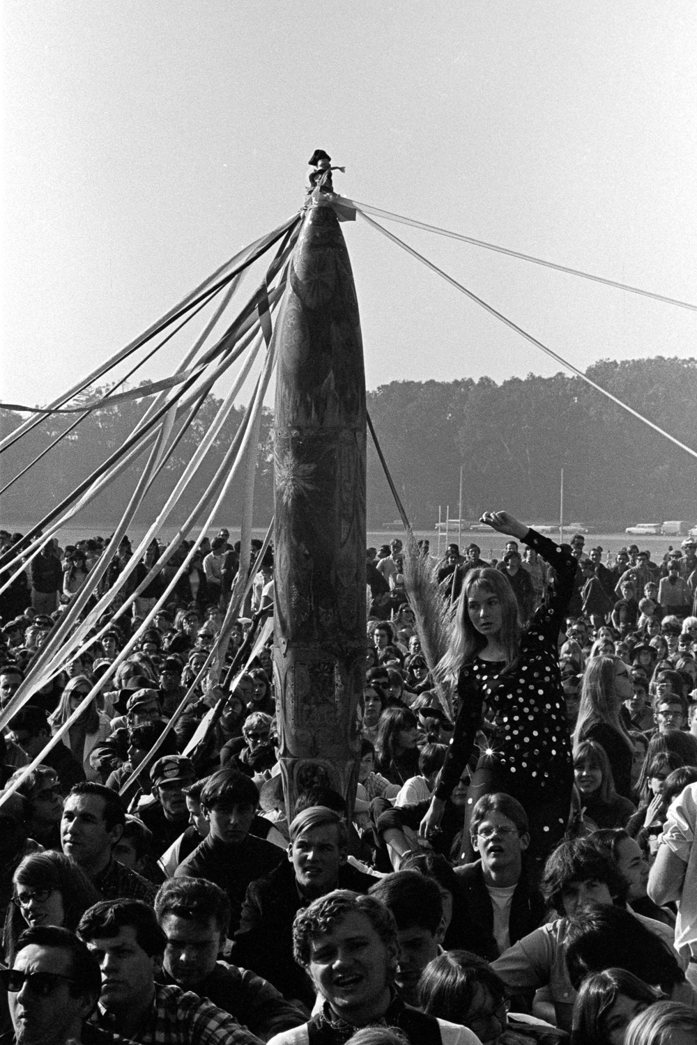 A bomb casing became a maypole. It was the Human Be-In approach to turning swords into ploughshares.