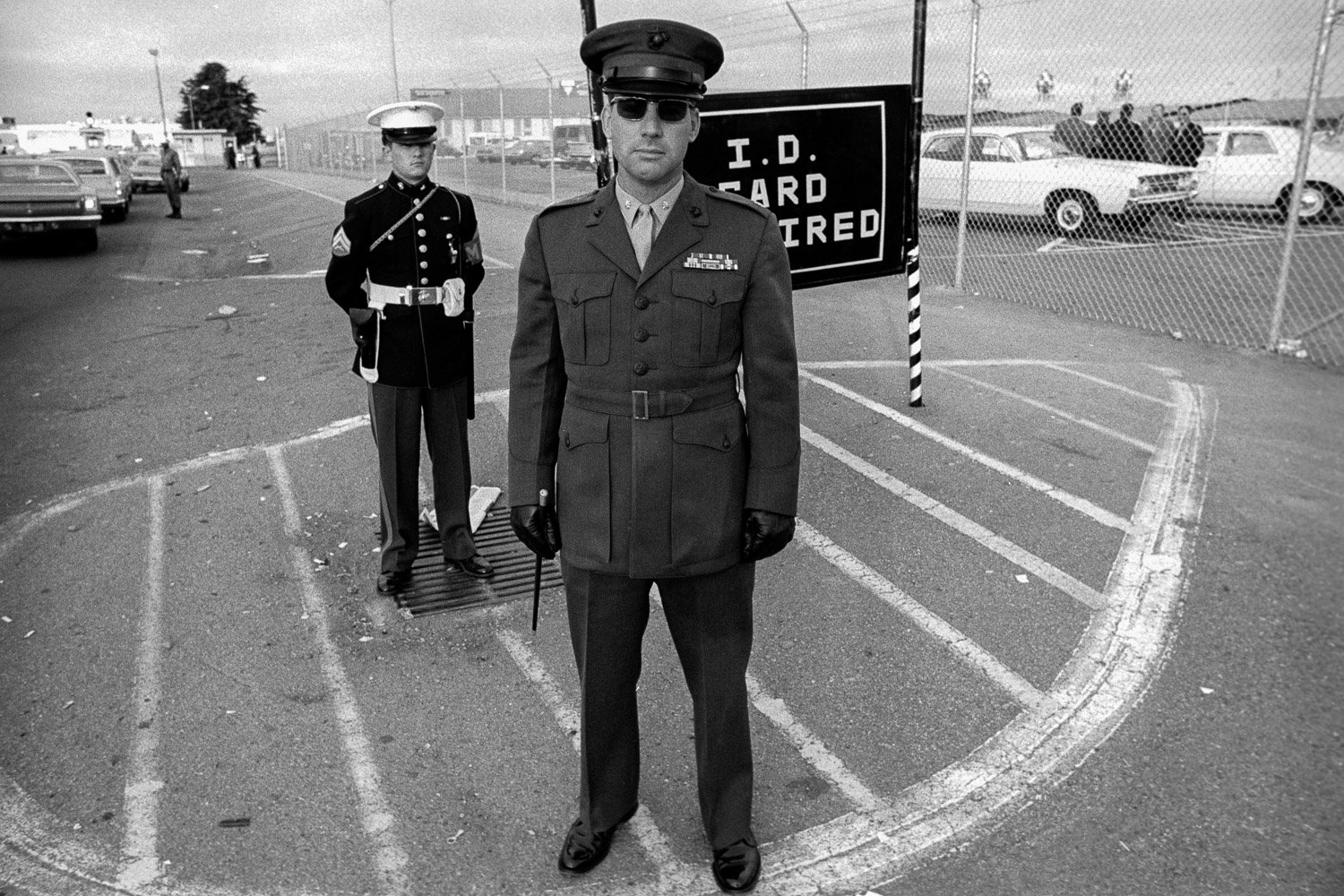 This Marine Corps officer was there to keep the rally from blocking the base gates. Note the riding crop in his right hand.