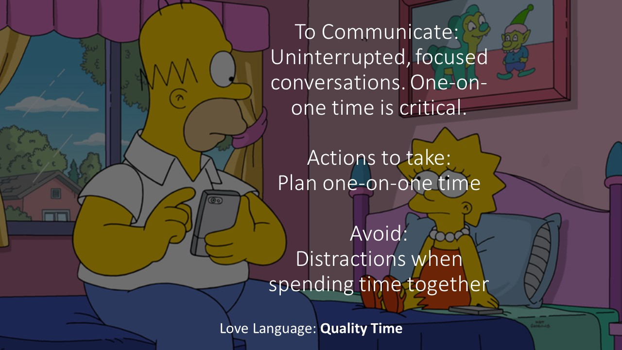 "If your love language is ""quality time"", you probably are particularly aware of/bothered when people who pick up their phone while you're talking or at dinner."