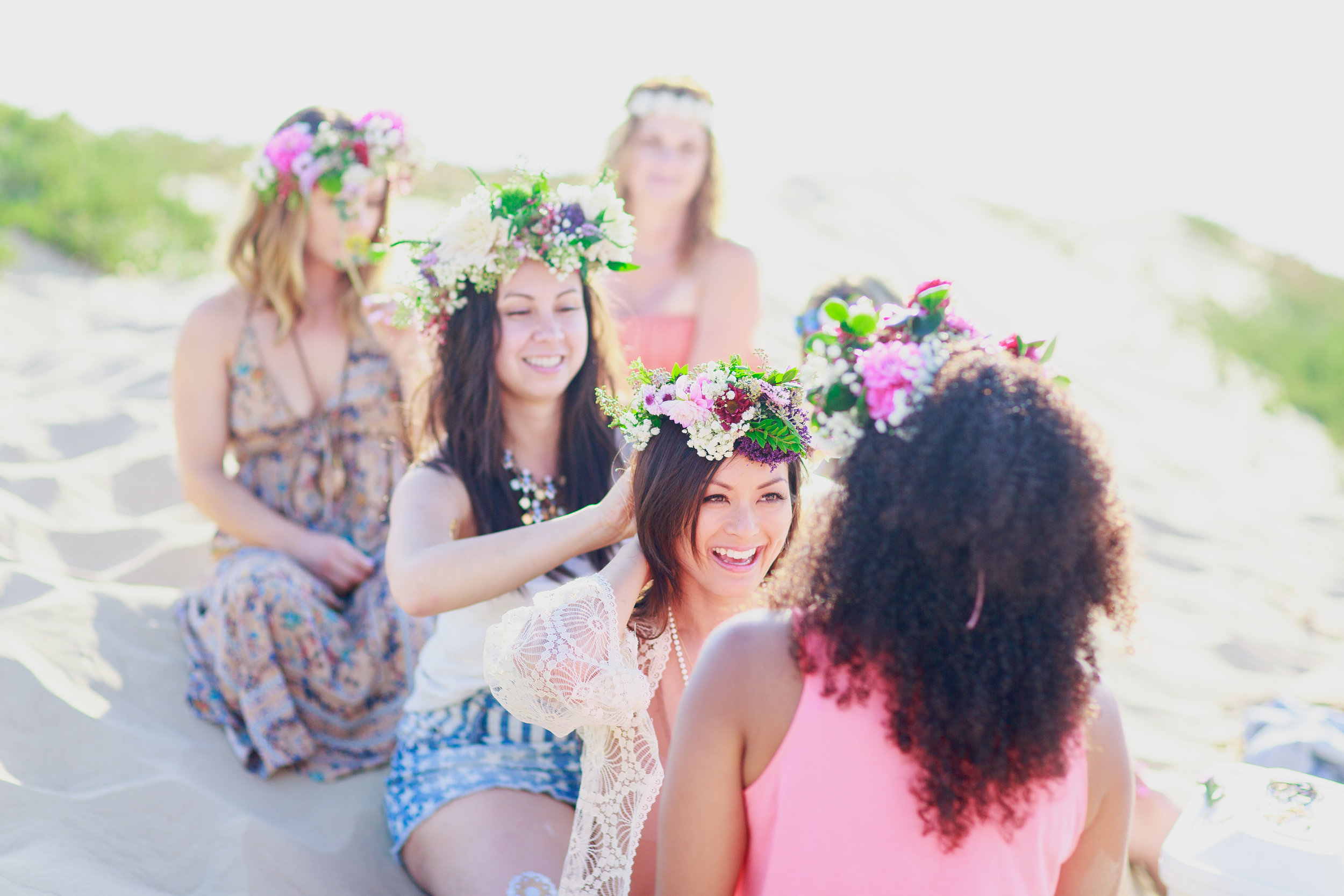 bridal party flower fun photo shoot