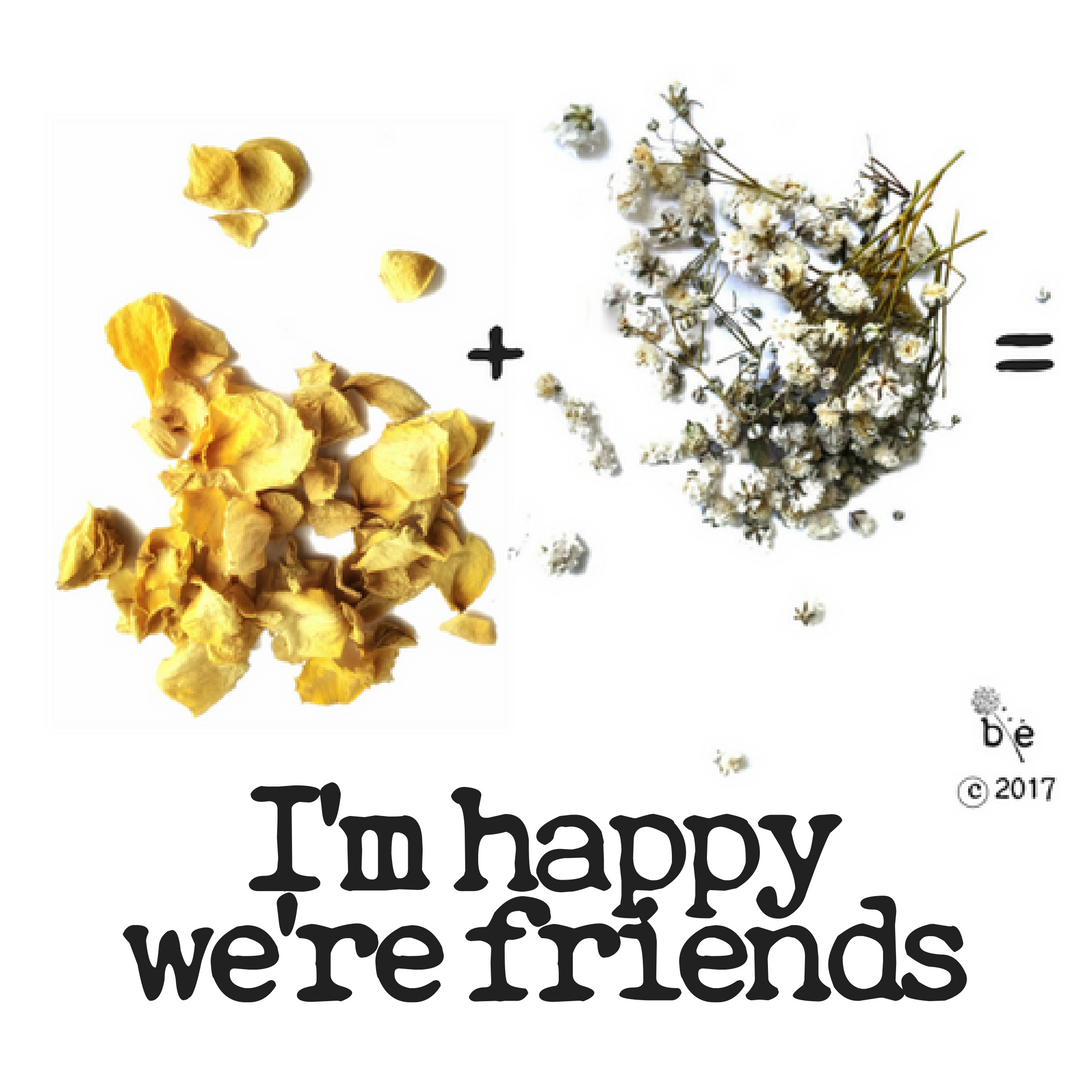 """You can combine flowers to create a message coded in the lost language of flowers like the message pictured, which uses yellow rose (friendship) + baby's breath (happiness) to say """"I'm happy we're friends."""""""