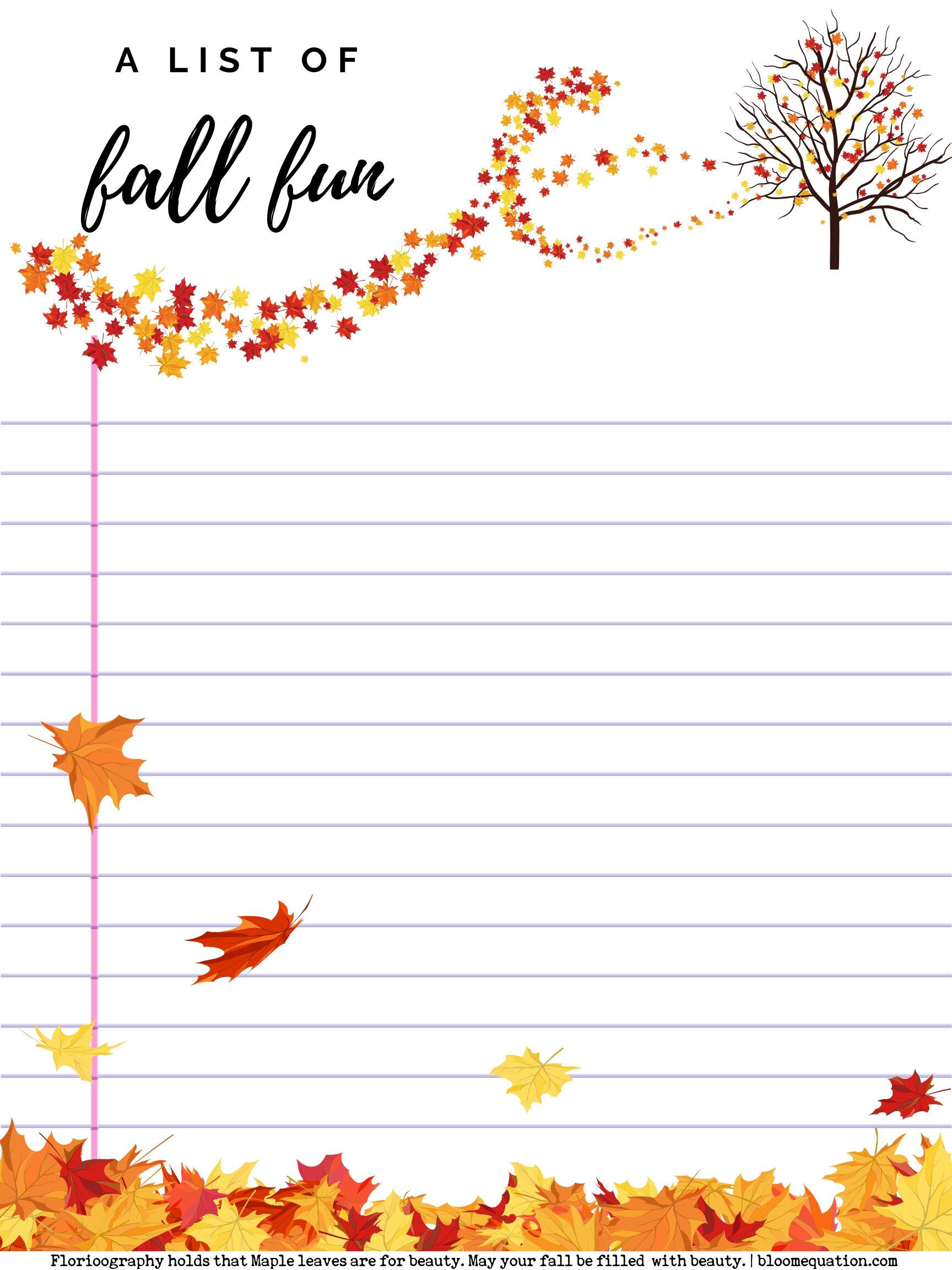 fall fun list free printable