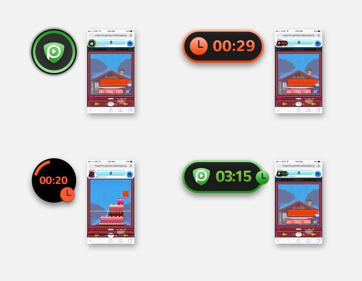 Four different designs for timers we tested