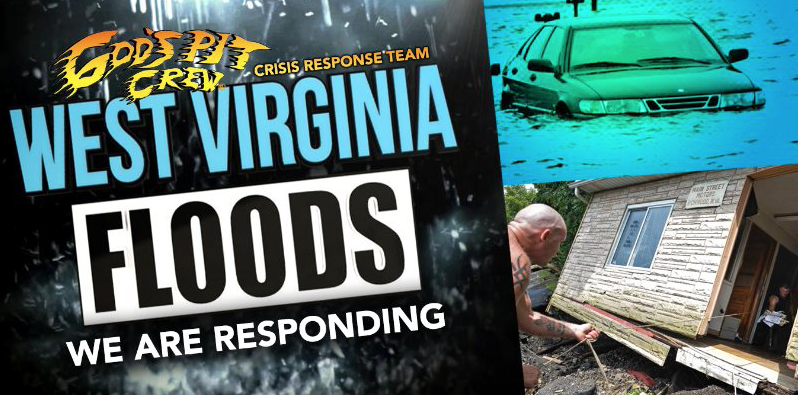 Donate to the restoration efforts in West Virginia by going through God's Pit Crew.