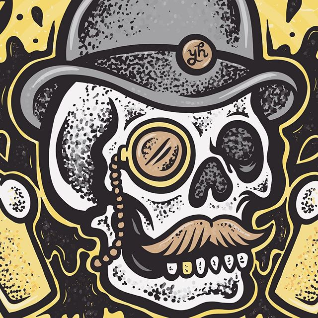 ...some of my recent artwork for Young Henrys, celebrating their month-long tap-takeover at Jack Ruby's. And also their part in the Adelaide Beer & BBQ Festival. And a little birdie told me their might be some stickers coming soon from this little hairy gentleman. @younghenrys #younghenrys #jackruby #adelaidebeerandbbqfestival #adelaide #craftbeer #illustration #skullillustration
