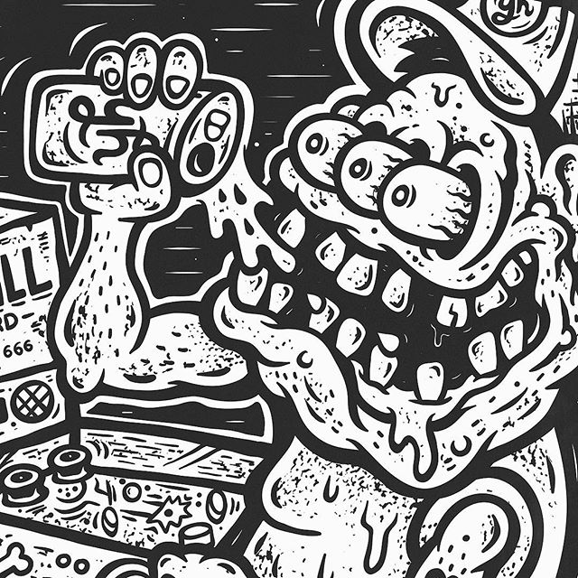 PINBALL WIZARD! ...new shirt-artwork for the Brisbane Pinball Masters held at Archive Beer Boutique, West End QLD. Sponsored by Young Henrys. TILT! TILT! TILT!  @archivebeer @younghenrys @redoctopus_ #archivebeerboutique #younghenrys #redoctopus #ratfink #fink #pinball #brisbanepinballmasters #sindysinn