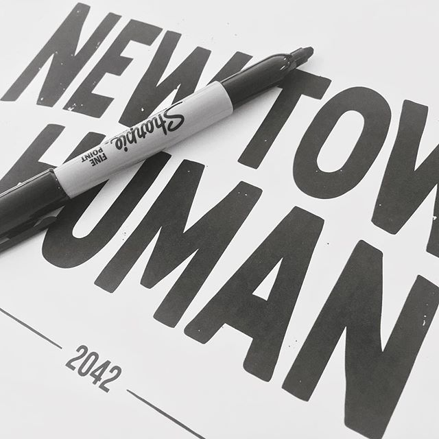 NEWTOWN HUMAN! ...exciting new shirt-artwork, collaborating @younghenrys and the @humansofnewtown book launch. The shirts lovingly printed by @aisle6ix.  Midday on Saturday at the @newtownsocialclub, where I'll be painting skulls and sipping beers beside @mentalben. Come on down. #sindysinn #younghenrys #humansofnewtown