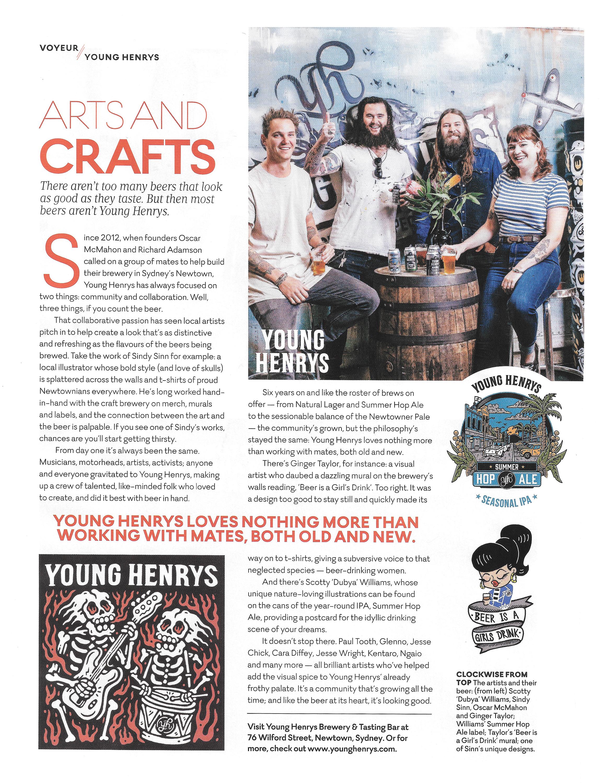 Virgin Inflight Magazine Voyeur Sindy Sinn Young Henrys